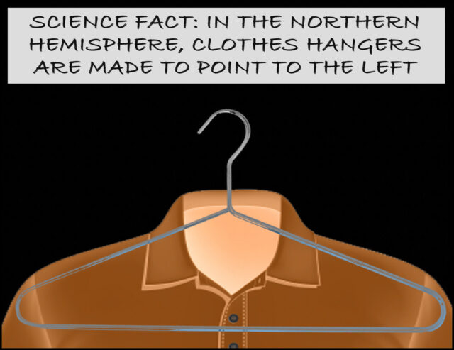 Science fact: In the Northern Hemisphere, clothes hangers are made to point to the left