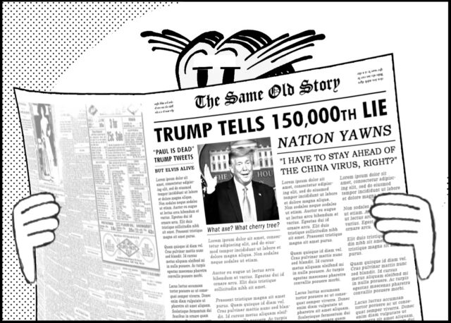 Character Reading the Same Old Story about Trump's Lies